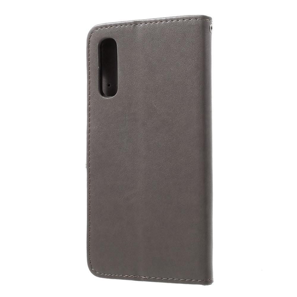 Nahkakotelo Perhonen Samsung Galaxy A50 harmaa