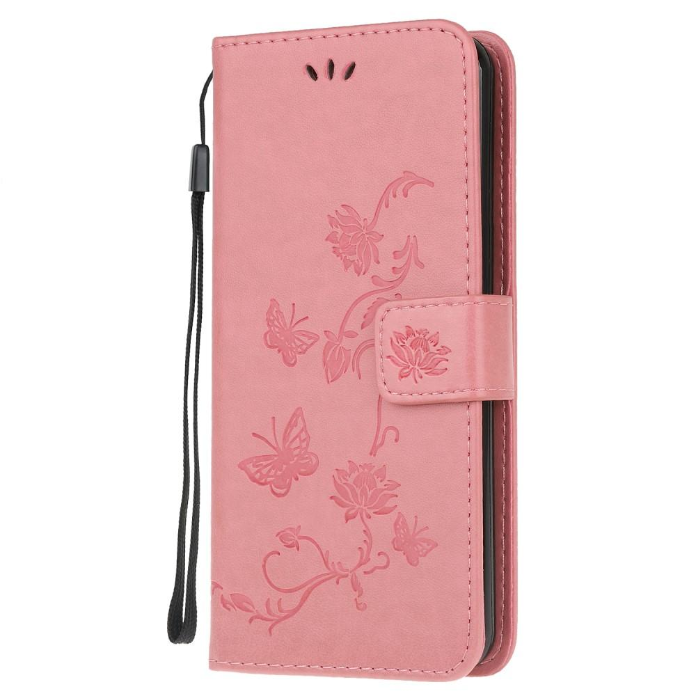 Nahkakotelo Perhonen Samsung Galaxy A51 vaaleanpunainen