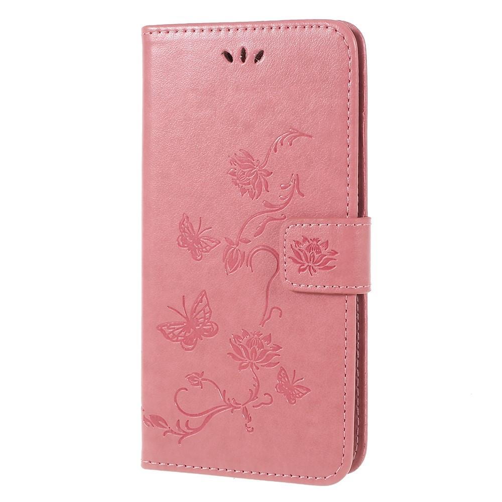 Nahkakotelo Perhonen Samsung Galaxy A6 2018 vaaleanpunainen