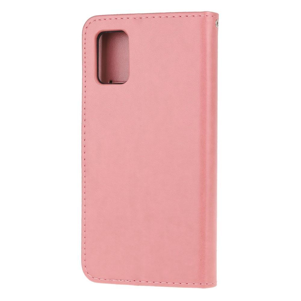 Nahkakotelo Perhonen Samsung Galaxy A71 vaaleanpunainen