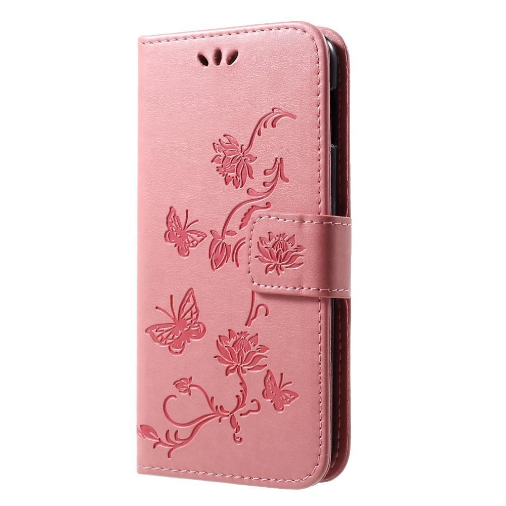 Nahkakotelo Perhonen Samsung Galaxy S10e vaaleanpunainen