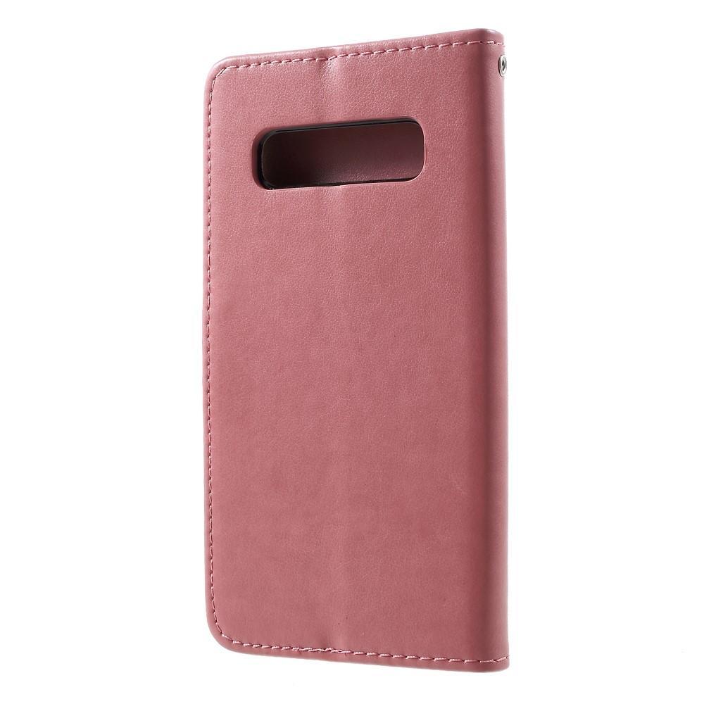 Nahkakotelo Perhonen Samsung Galaxy S10 Plus vaaleanpunainen
