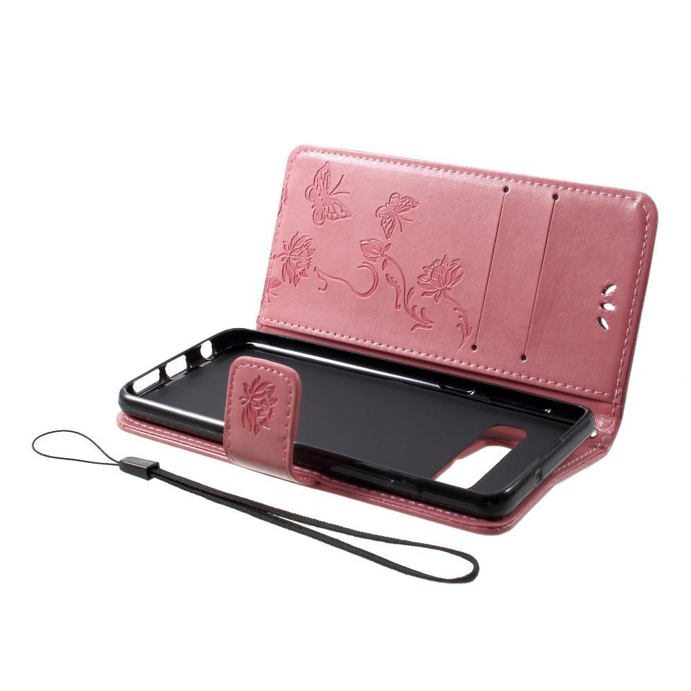 Nahkakotelo Perhonen Samsung Galaxy S10 vaaleanpunainen