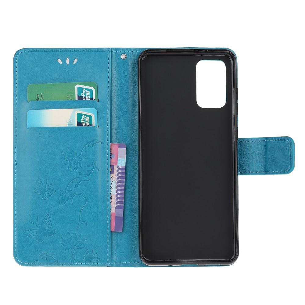 Nahkakotelo Perhonen Samsung Galaxy S20 sininen