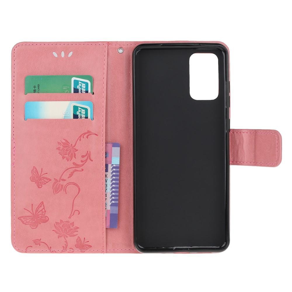 Nahkakotelo Perhonen Samsung Galaxy S20 vaaleanpunainen
