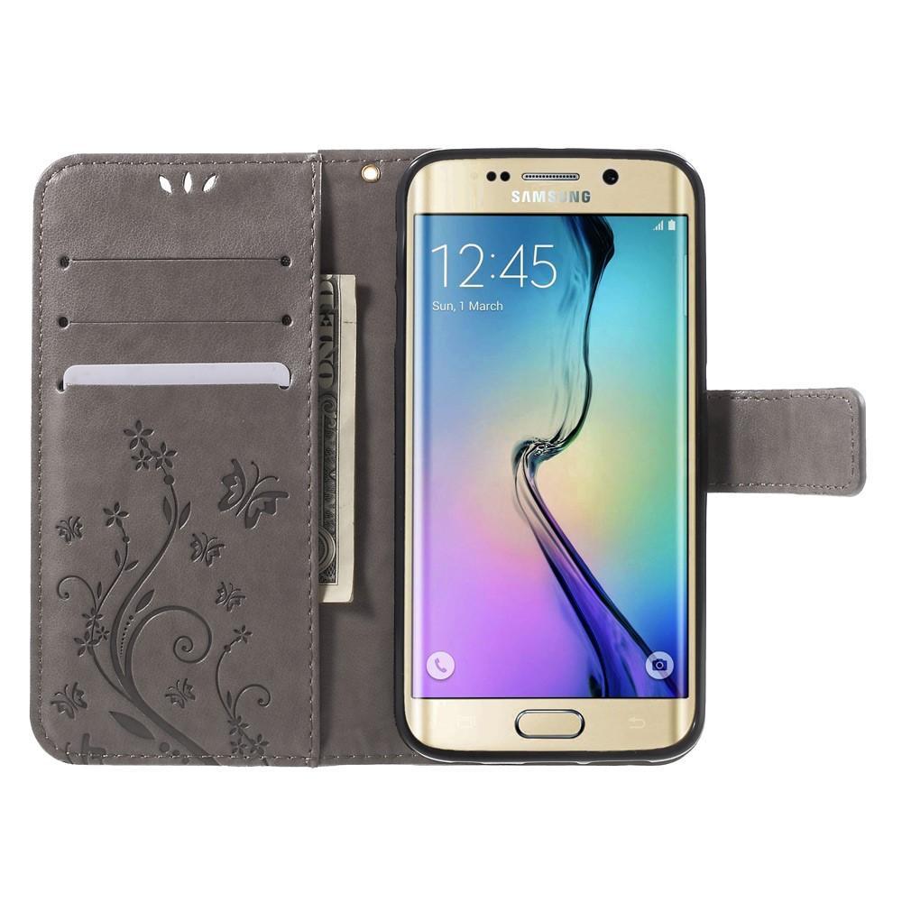 Nahkakotelo Perhonen Samsung Galaxy S6 Edge harmaa