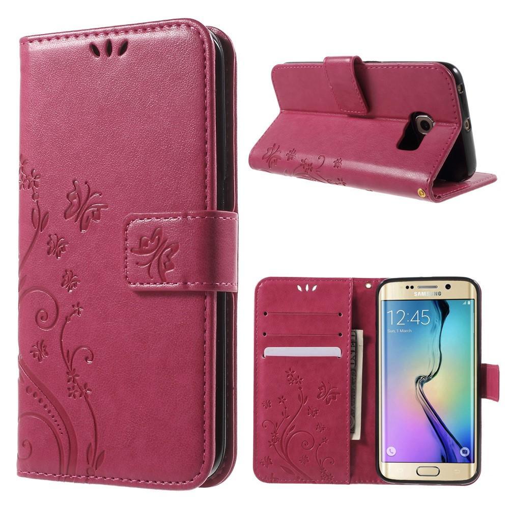 Nahkakotelo Perhonen Samsung Galaxy S6 Edge vaaleanpunainen