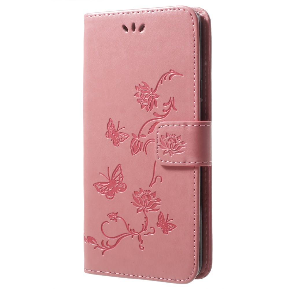 Nahkakotelo Perhonen Samsung Galaxy S9 Plus vaaleanpunainen