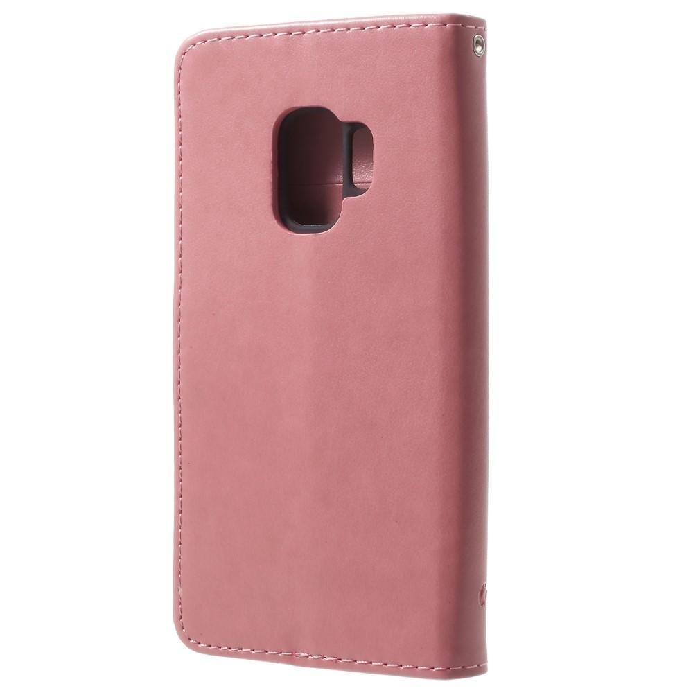 Nahkakotelo Perhonen Samsung Galaxy S9 vaaleanpunainen
