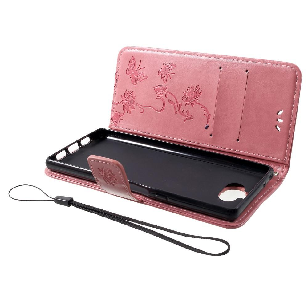 Nahkakotelo Perhonen Sony Xperia 10 vaaleanpunainen