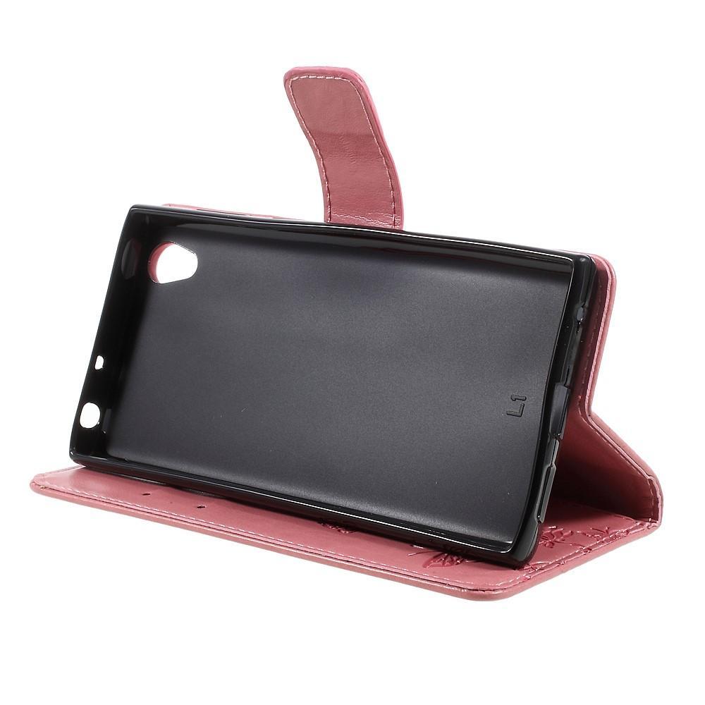 Nahkakotelo Perhonen Sony Xperia L1 vaaleanpunainen