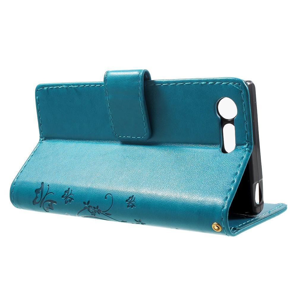 Nahkakotelo Perhonen Sony Xperia X Compact sininen