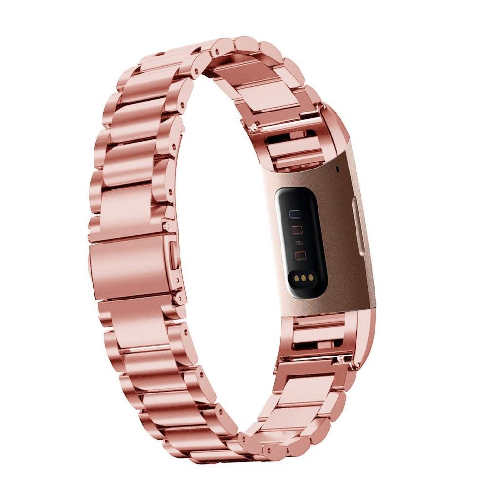 Metalliranneke Fitbit Charge 3/4 ruusukulta
