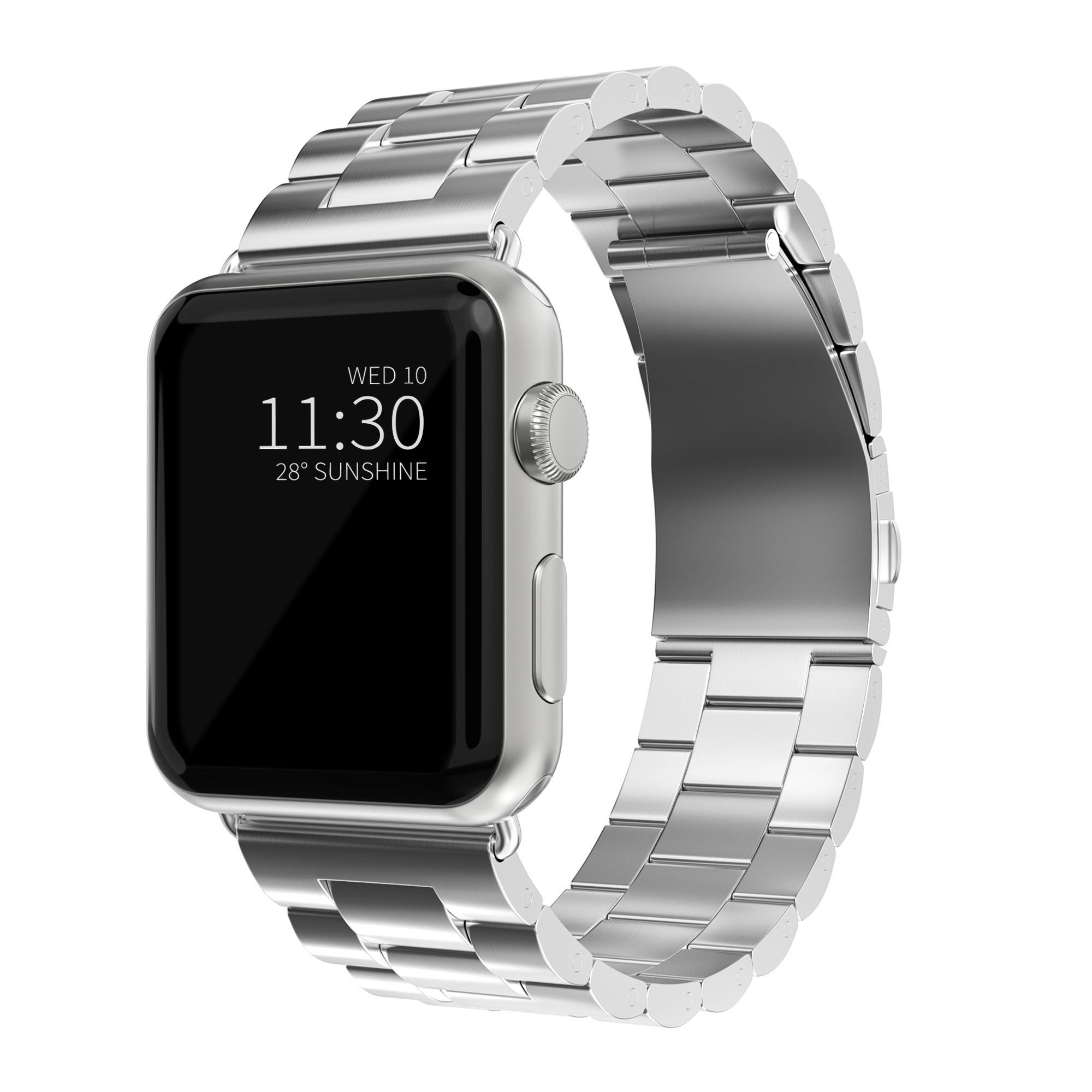 Metalliranneke Apple Watch 42/44/45 mm hopea