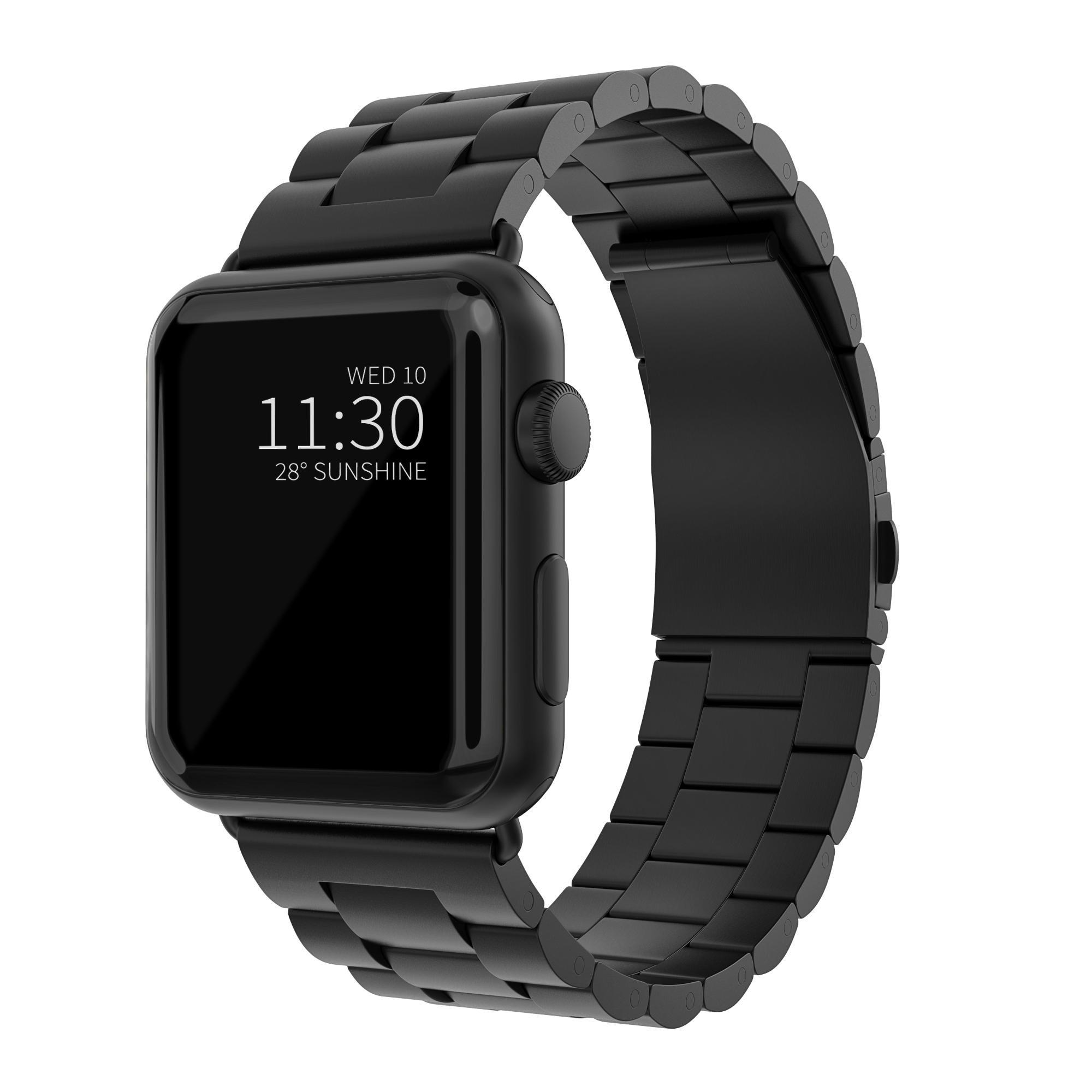 Metalliranneke Apple Watch 42/44/45 mm musta