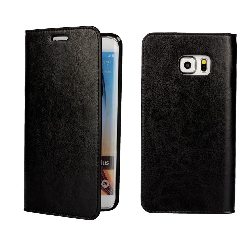 Suojakotelo Aito Nahka Samsung Galaxy S6 Edge Plus musta