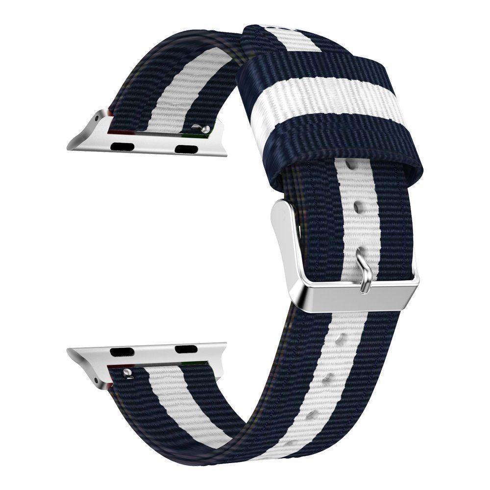 Nailonranneke Apple Watch 38/40/41 mm sininen/valkoinen