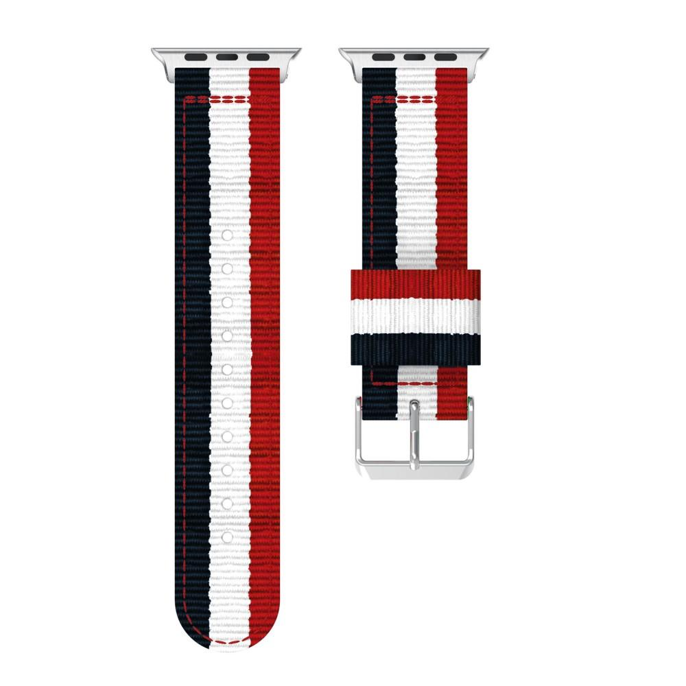 Nailonranneke Apple Watch 38/40/41 mm sininen/valkoinen/punainen