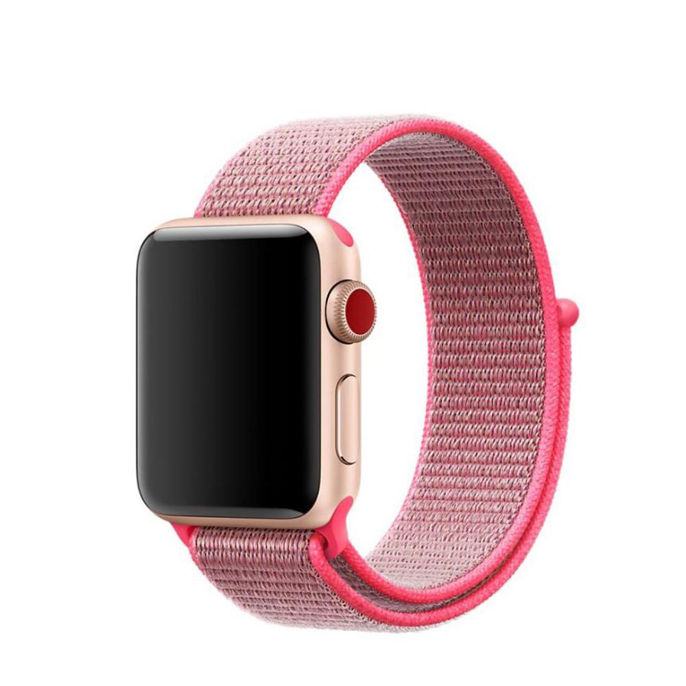 Nailonranneke Apple Watch 42/44/45 mm vaaleanpunainen