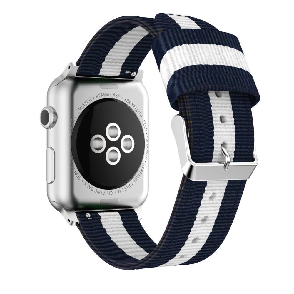 Nailonranneke Apple Watch 42/44/45 mm sininen/valkoinen