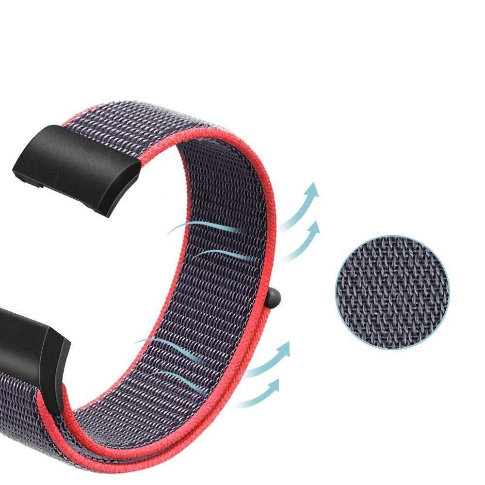 Nailonranneke Fitbit Charge 3/4 harmaa/vaaleanpunainen
