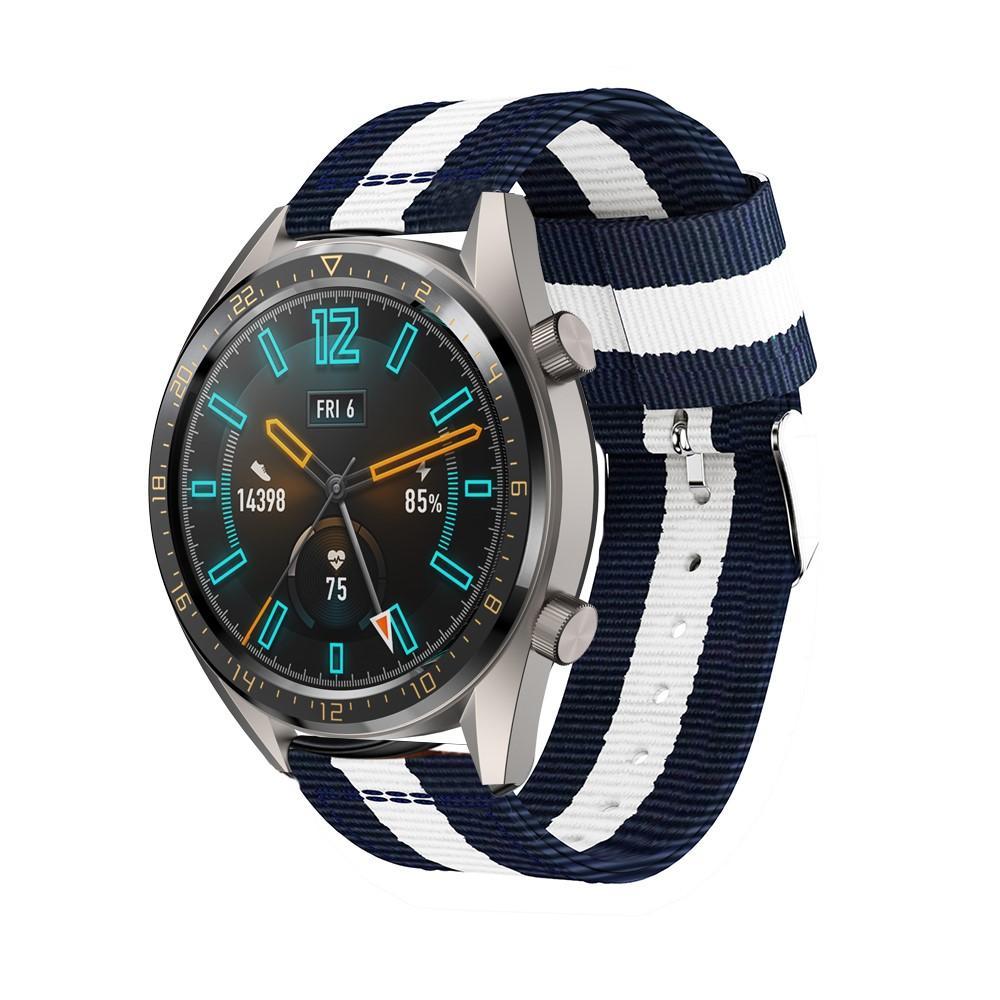 Nailonranneke Huawei Watch GT/GT 2 46mm/GT 2 Pro sininen/valkoinen