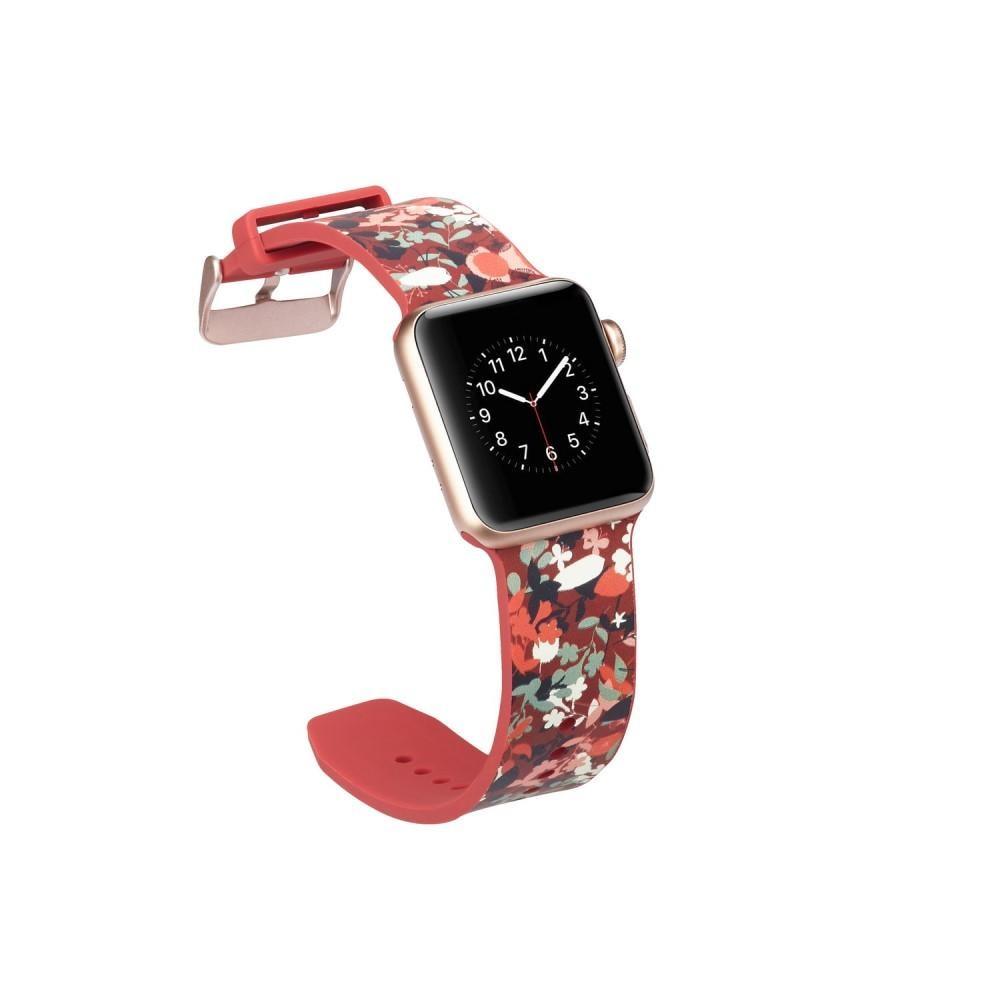 Silikoniranneke Apple Watch 38/40/41 mm punainen kukat