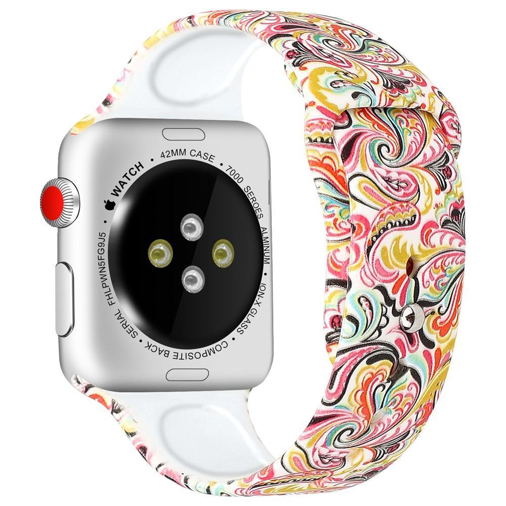 Silikoniranneke Apple Watch 42/44/45 mm paisley