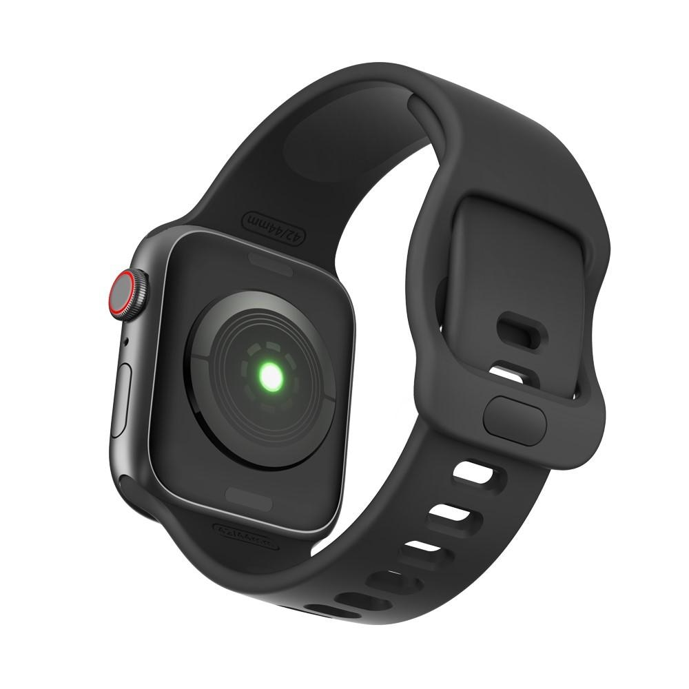 Silikoniranneke Apple Watch 42/44/45 mm musta