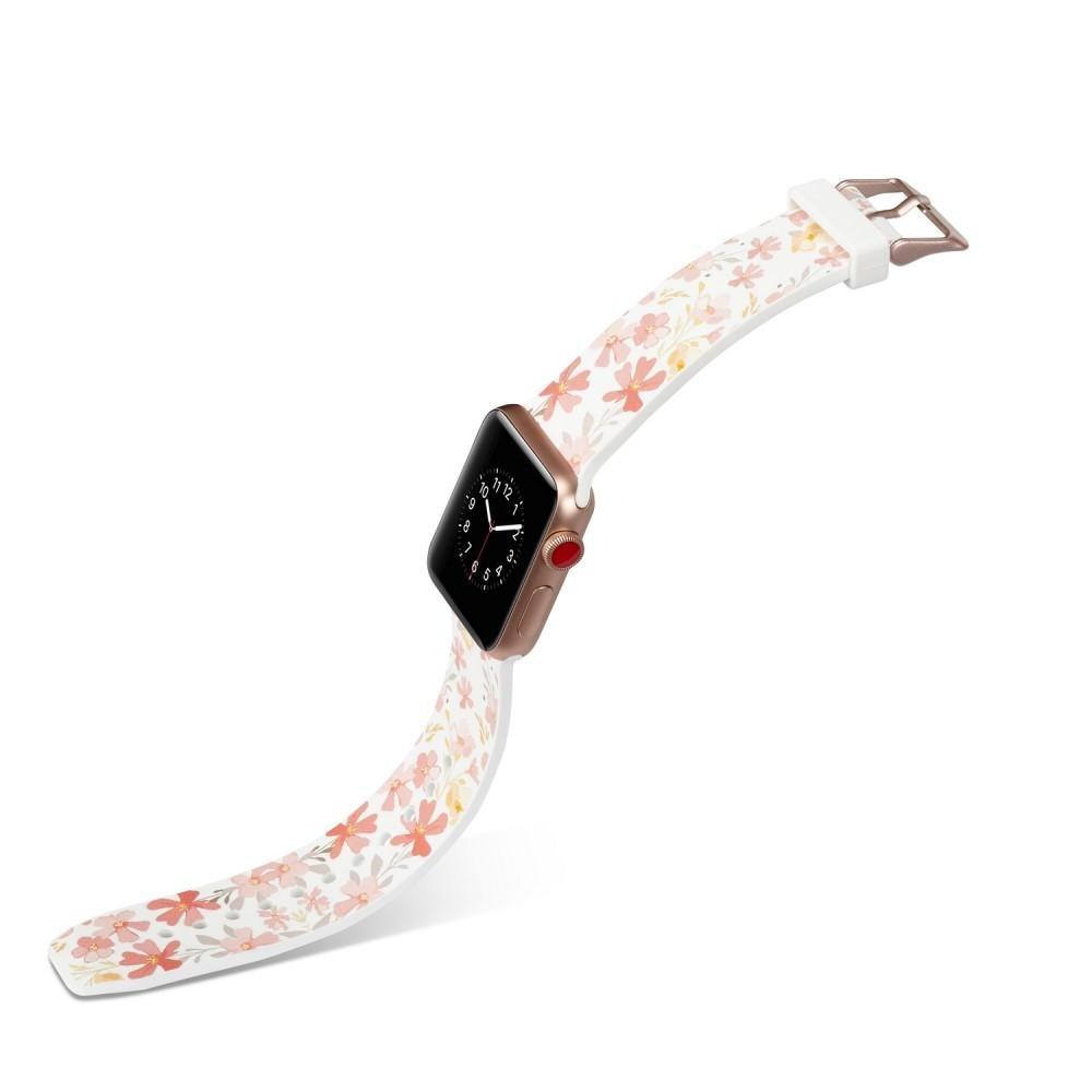 Silikoniranneke Apple Watch 42/44/45 mm valkoinen kukat