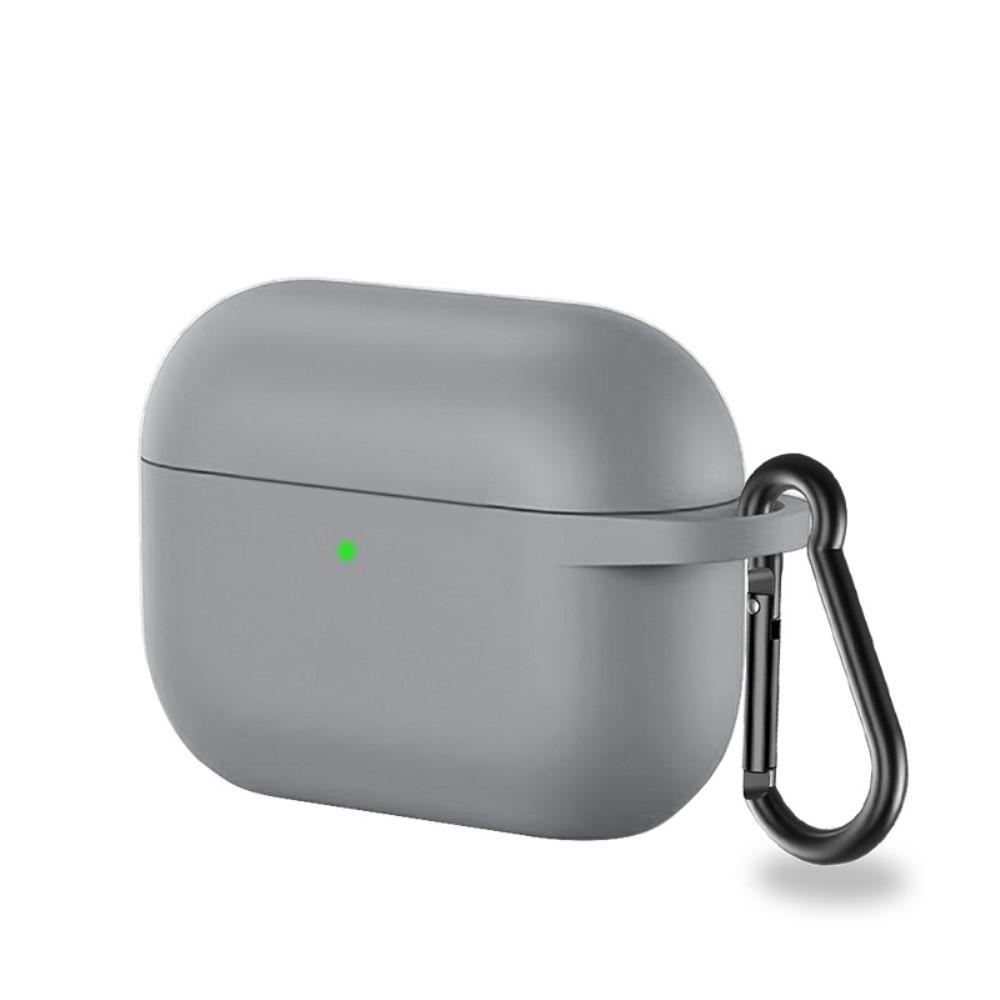 Silikonikotelo karabiinilla Apple AirPods Pro harmaa