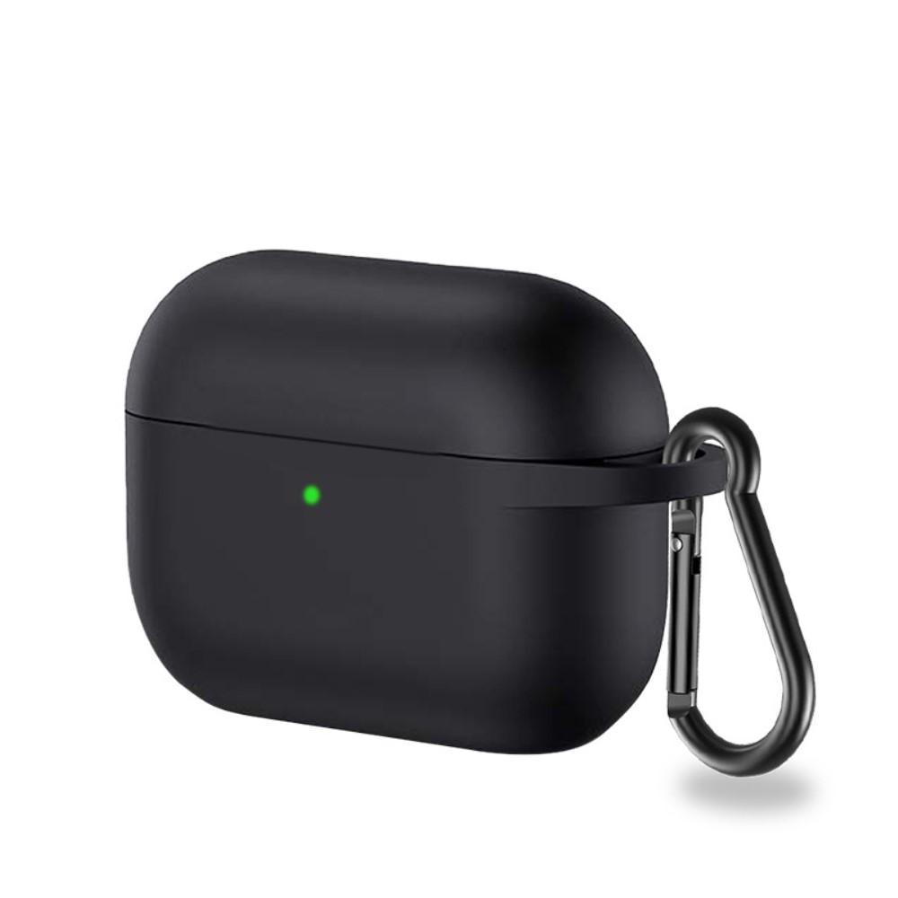 Silikonikotelo karabiinilla Apple AirPods Pro musta