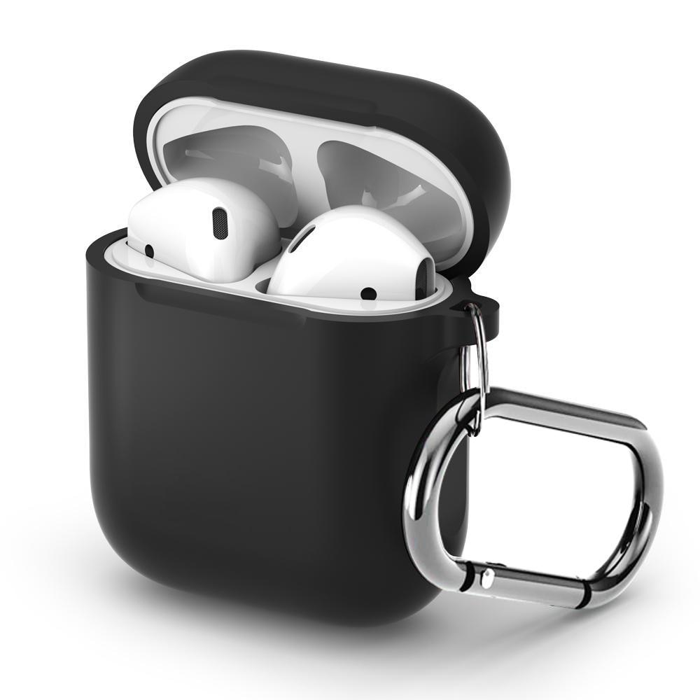Silikonikotelo karabiinilla Apple AirPods musta