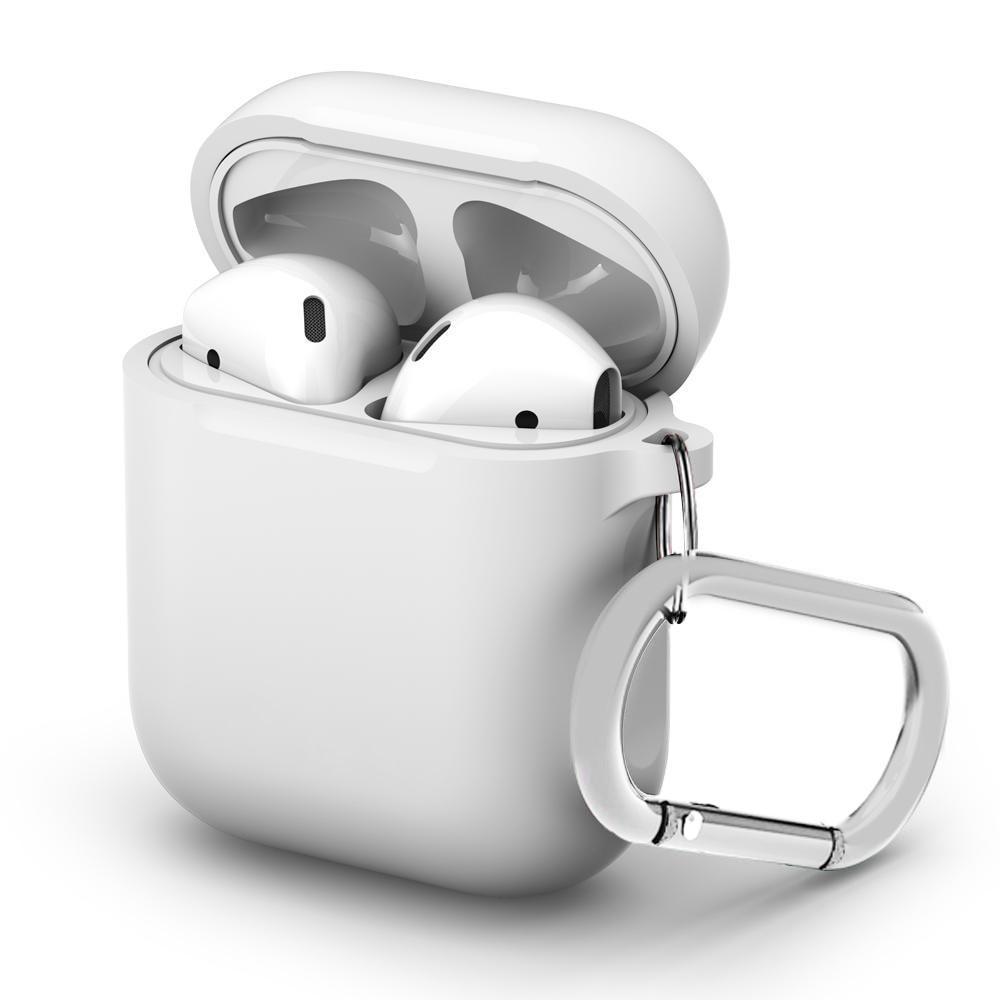 Silikonikotelo karabiinilla Apple AirPods valkoinen
