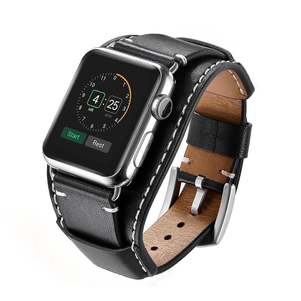 Brett Nahkaranneke Apple Watch 42/44/45 mm musta