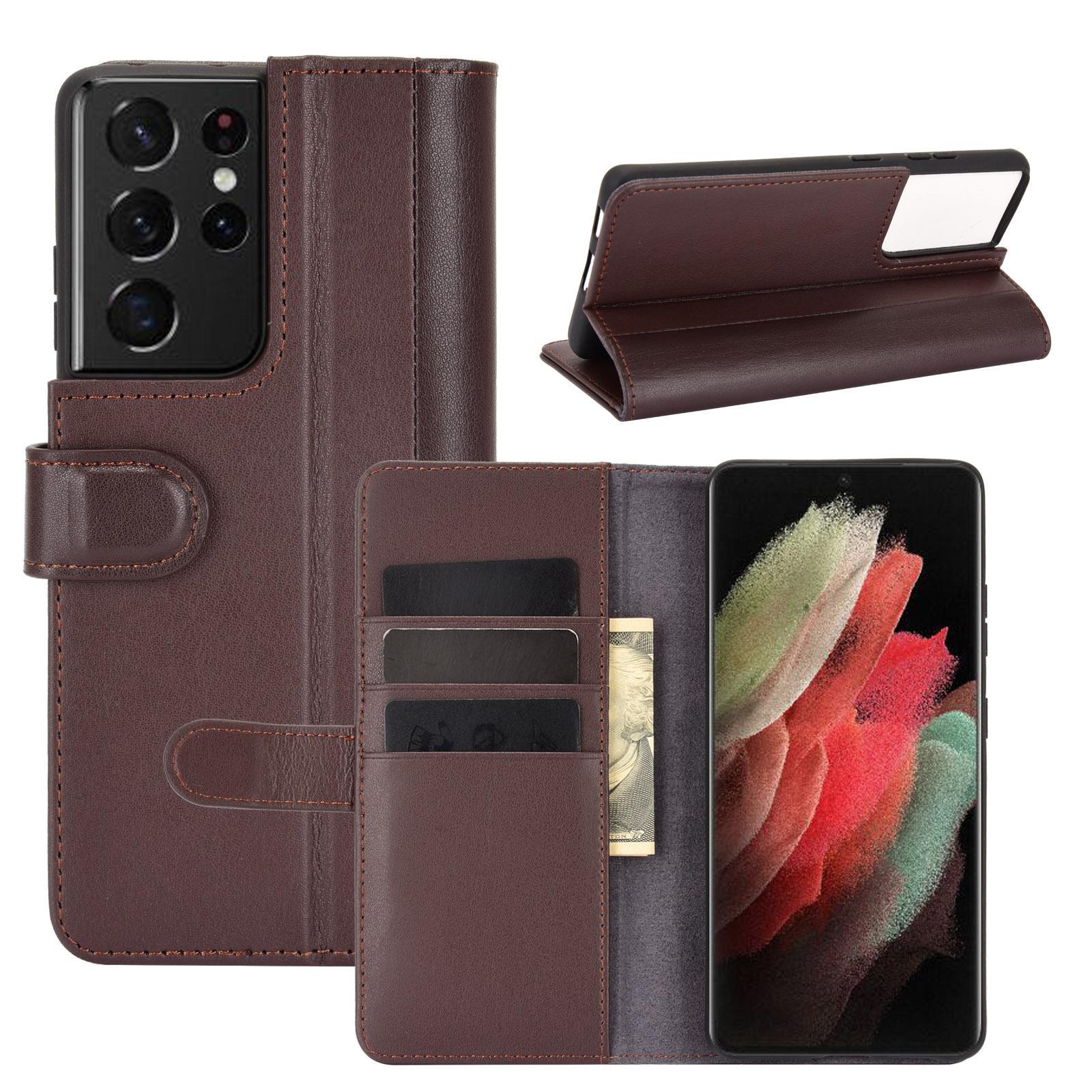 Aito Nahkakotelo Samsung Galaxy S21 Ultra ruskea