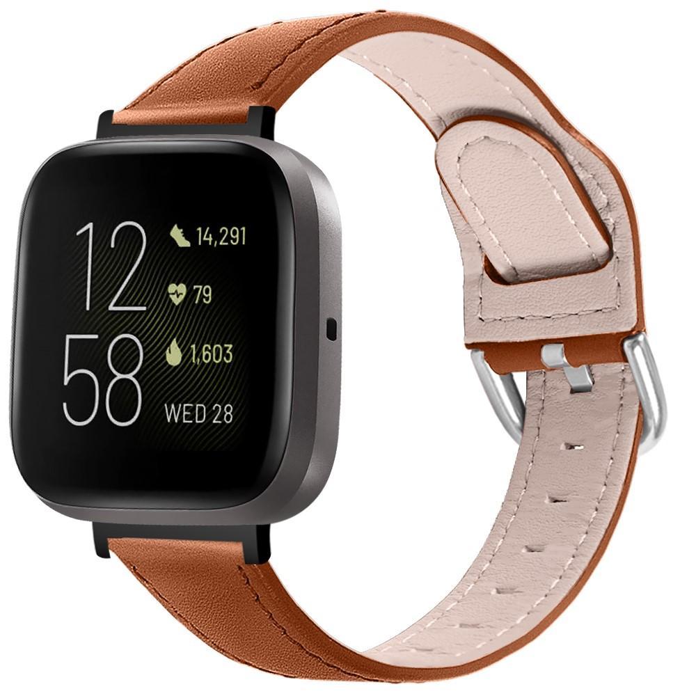 Nahkaranneke Fitbit Versa 3/Sense ruskea