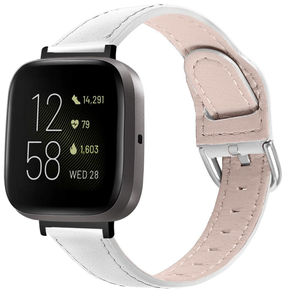Nahkaranneke Fitbit Versa 3/Sense valkoinen