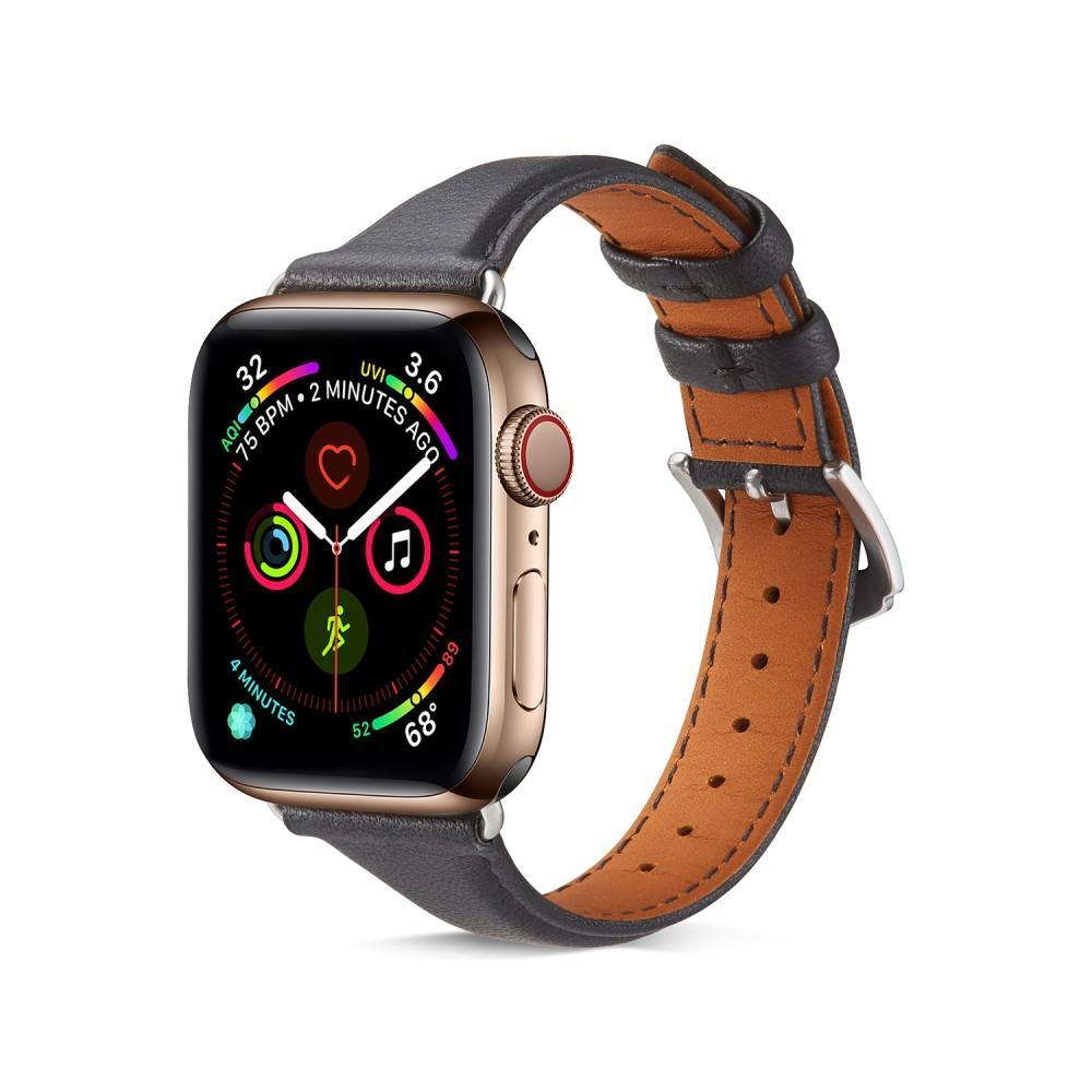 Slim Nahkaranneke Apple Watch 42/44/45 mm musta