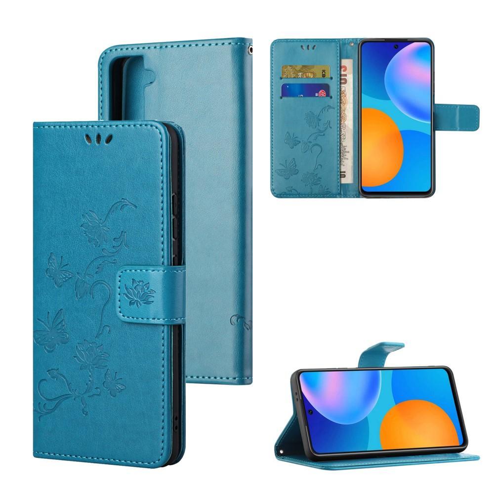 Nahkakotelo Perhonen Galaxy S21 FE sininen
