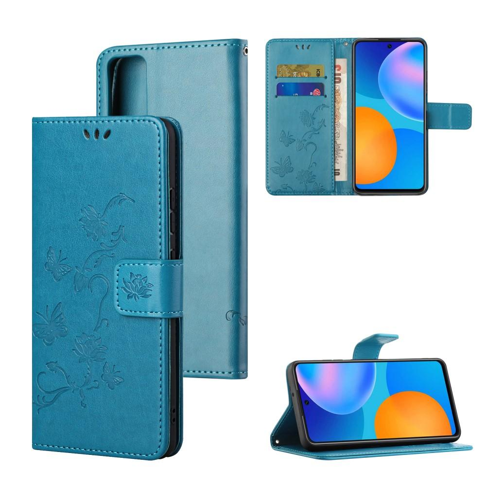 Nahkakotelo Perhonen Huawei P Smart 2021 sininen