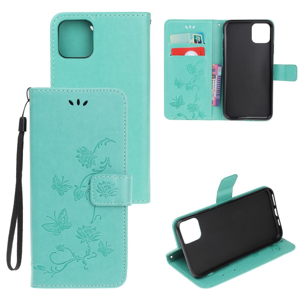 Nahkakotelo Perhonen iPhone 12 Mini vihreä