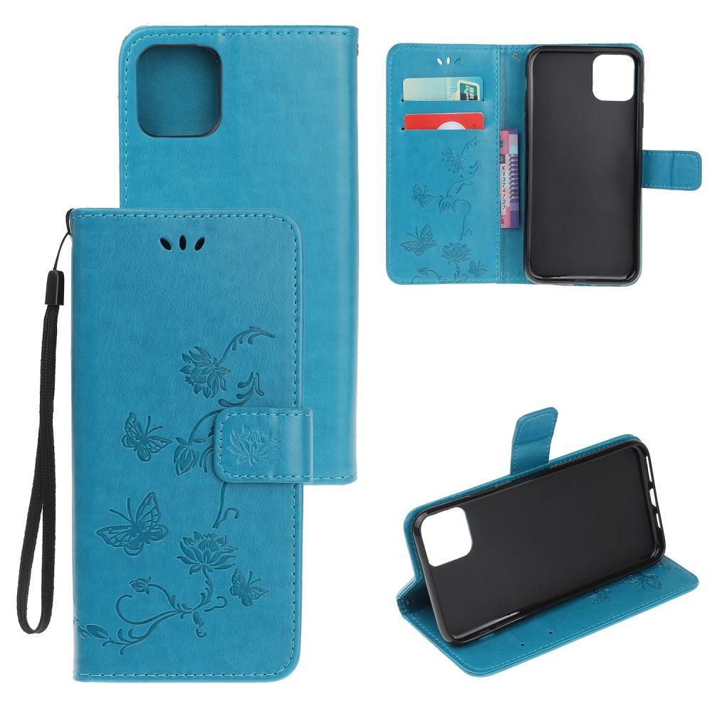 Nahkakotelo Perhonen iPhone 12/12 Pro sininen