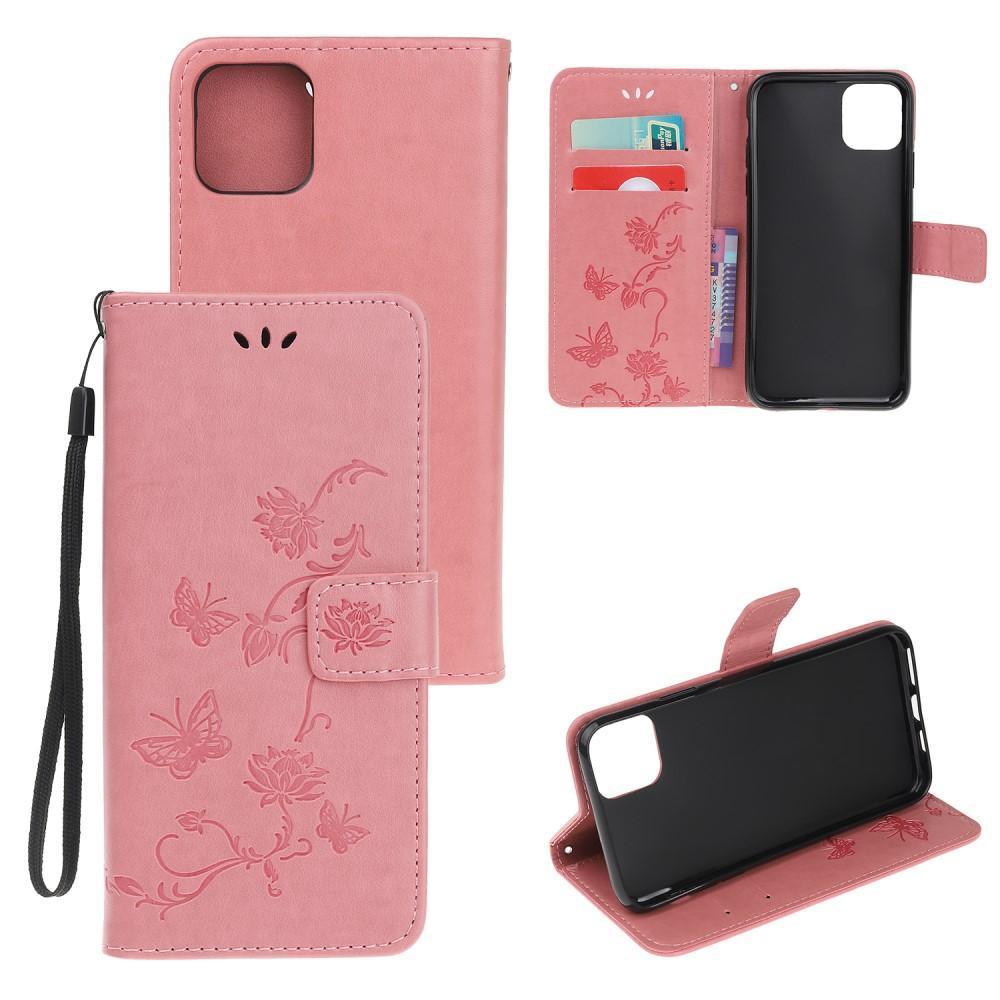 Nahkakotelo Perhonen iPhone 12 Mini vaaleanpunainen