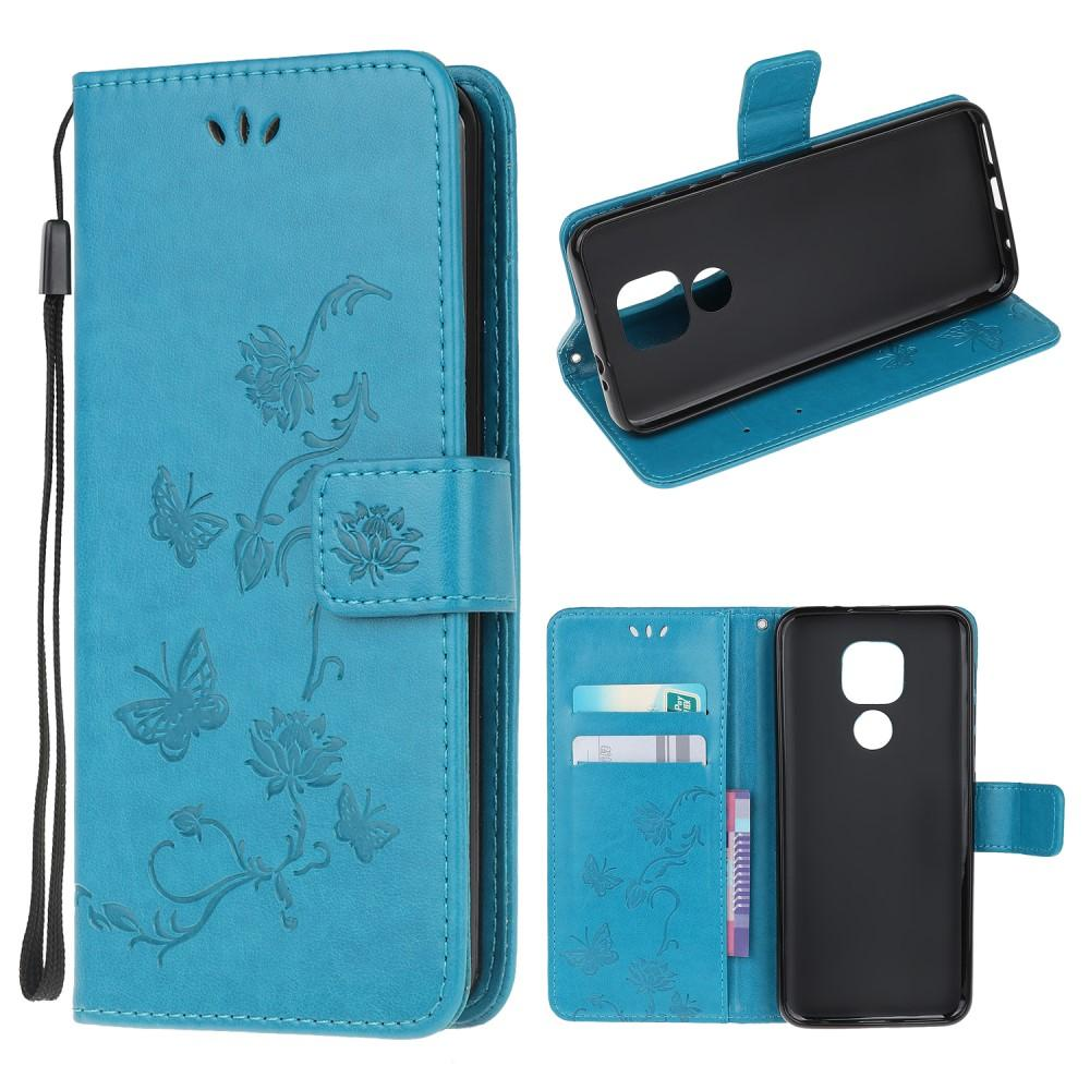 Nahkakotelo Perhonen Moto G9 Play/E7 Plus sininen