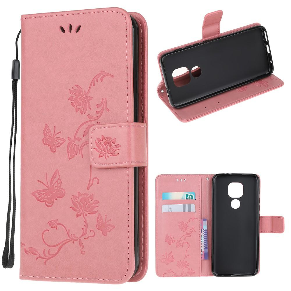 Nahkakotelo Perhonen Moto G9 Play/E7 Plus vaaleanpunainen