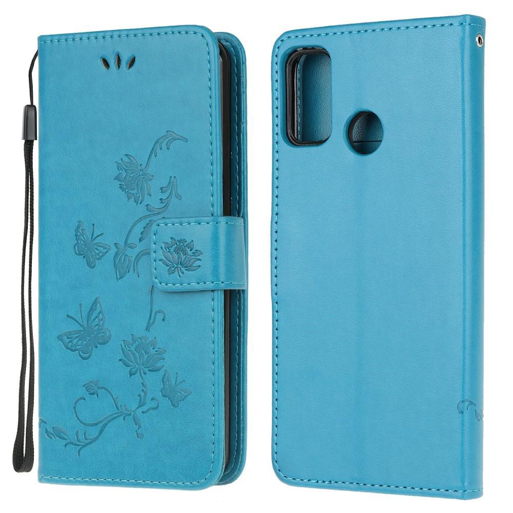 Nahkakotelo Perhonen Motorola Moto G10/G20/G30 sininen