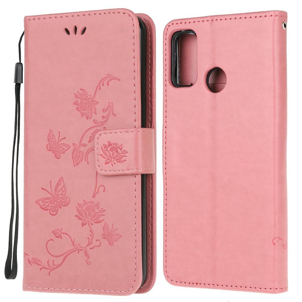 Nahkakotelo Perhonen Motorola Moto G10/G20/G30 vaaleanpunainen