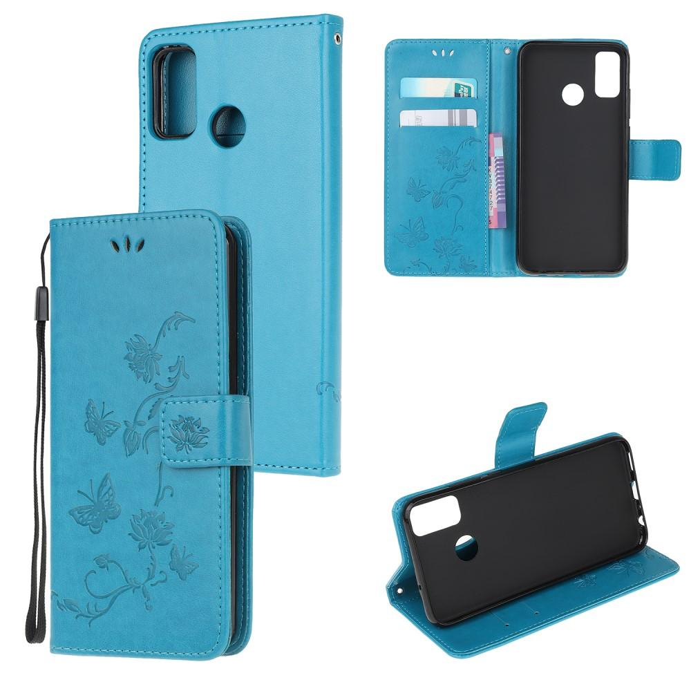 Nahkakotelo Perhonen Motorola Moto G50 sininen