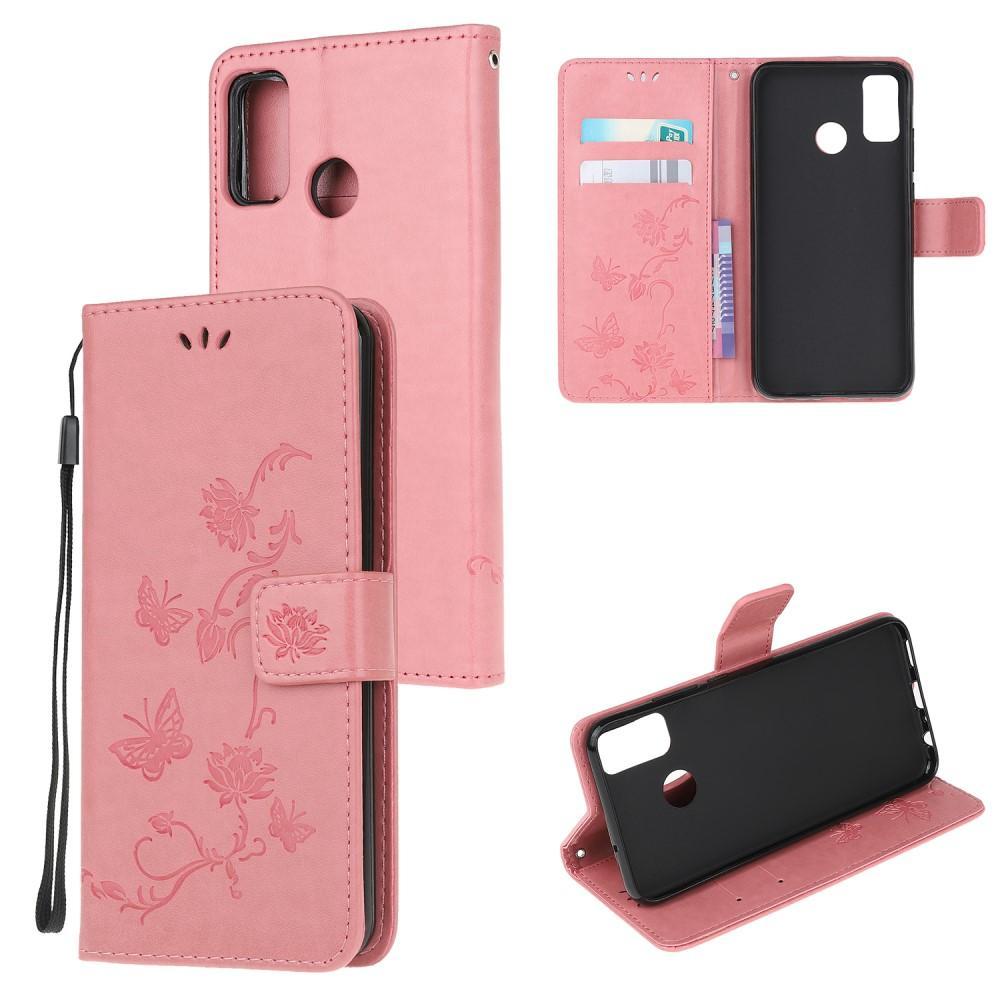 Nahkakotelo Perhonen Motorola Moto G50 vaaleanpunainen